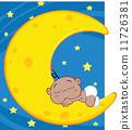 African American Baby Boy Sleeps On Moon Over Blue Sky With Stars 11726381