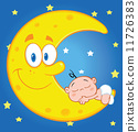 Baby Boy Sleeps On The Smiling Moon Over Blue Sky With Stars 11726383