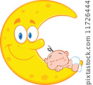 Cute Baby Boy Sleeps On The Smiling Moon  11726444