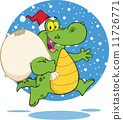 Crocodile Santa Cartoon Character Running With Bag 11726771