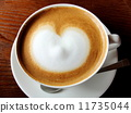 Warm coffee latte and heart image material 11735044