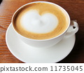 Warm coffee latte and heart image material 11735045