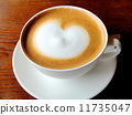 Warm coffee latte and heart image material 11735047