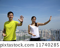 Young Asian Adults doing Taichi in the city 11740285