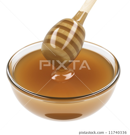 Cup of honey with wooden dipper 11740336