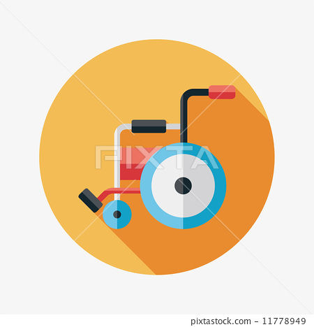 Wheelchair flat icon with long shadow 11778949