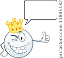 Winking Golf Ball Character With Gold Crown Holding A Thumb Up And Speech Bubble 11805182