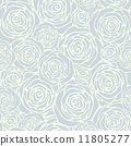 Seamless pattern with outline roses 11805277