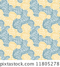 Seamless pattern with outline roses 11805278