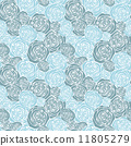 Seamless pattern with outline roses 11805279