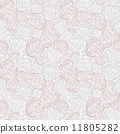 Seamless pattern with outline roses 11805282