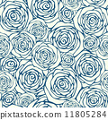 Seamless pattern with outline roses 11805284