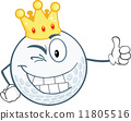 Winking Golf Ball Character With Gold Crown Holding A Thumb Up 11805516