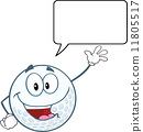 Golf Ball Cartoon Character Waving For Greeting With Speech Bubble 11805517