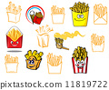 Cartoon french fries takeaway food designs 11819722