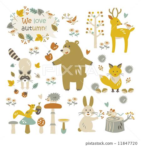 秋天森林动物材料 11847720