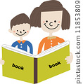 閱讀 矢量 父母和小孩 11853809