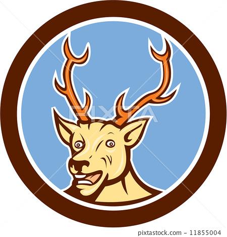 Stag Deer Happy Head Circle Cartoon 11855004