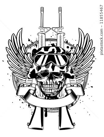 Skull in helmet and two guns 11855467