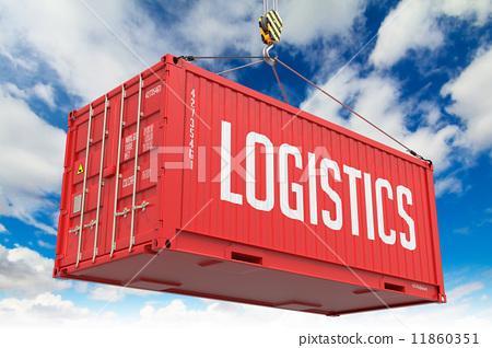 Stock Illustration: Logistics - Red Hanging Cargo Container.