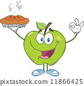 Green Apple Character Holding Up A Pie 11866425