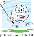 Happy Golf Ball Cartoon Character Swinging A Golf Club 11868130
