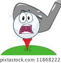 Panic Golf Ball Over Tee Going To Be Hit By Golf Club 11868222