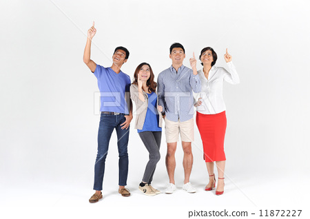 4 Friends Pointing Up Looking Up 11872227