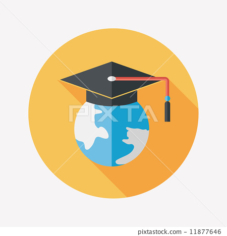 e-learning flat icon with long shadow,eps10 11877646