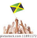 Group of multi-ethnic people reaching for and holding the flag o 11891172