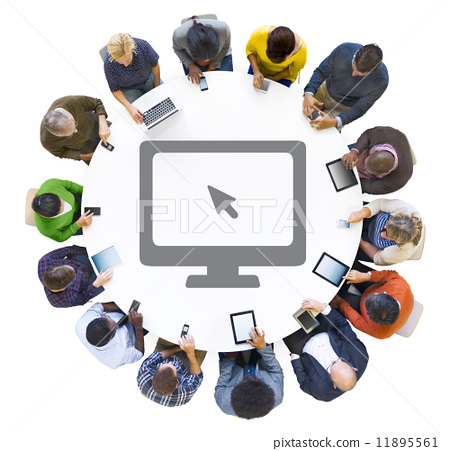 Multiethnic People Using Digital Devices with Computer Symbol 11895561