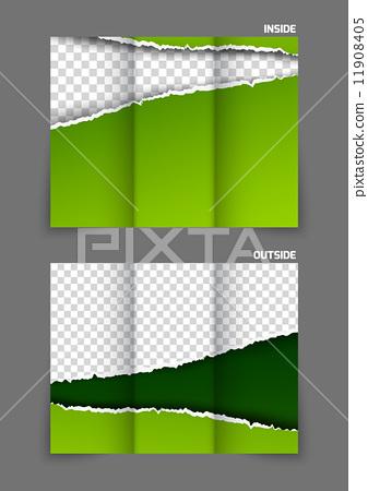 Torn paper tri fold brochure 11908405