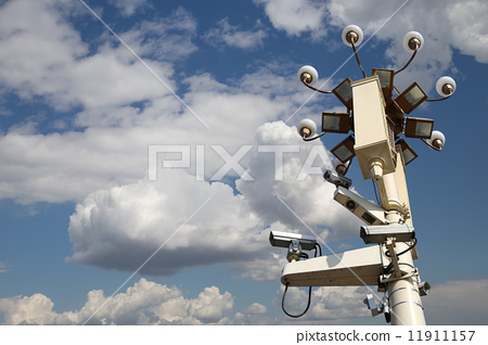 Street lamp in Tiananmen Square in Beijing, China with security cameras 11911157