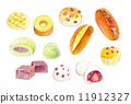 水彩画 食物 草莓大福 11912327