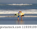 Surfers on Beach Having Fun in Summer. 11939109