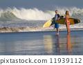 Surfers on Beach Having Fun in Summer. 11939112
