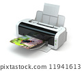 Color printer prints photo on white isolated background. 11941613