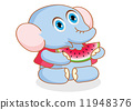 cute cartoon elephant eating watermelon 11948376