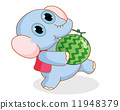 funny cartoon elephant carrying a watermelon 11948379