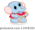 cute cartoon elephant eating watermelon 11948383