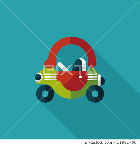 toy car walker flat icon with long shadow 11951706