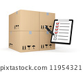 Boxes with clipboard. Delivery metaphor 11954321