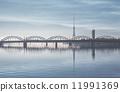 Railway bridge over the Daugava river. Riga, Latvia 11991369