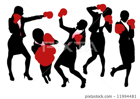 Silhouettes of Business woman boxing 11994481