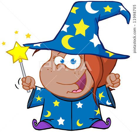 African American Wizard Girl Waving With Magic Wand 11998705