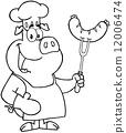 燒烤 烤的 豬 12006474
