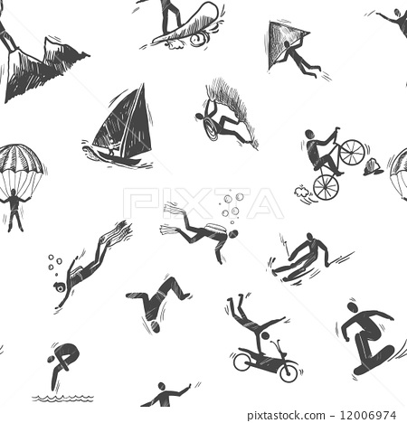 Stock Illustration: Extreme sports icon seamless