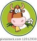 Dairy Cow Cartoon Logo Mascot Banner 12012930