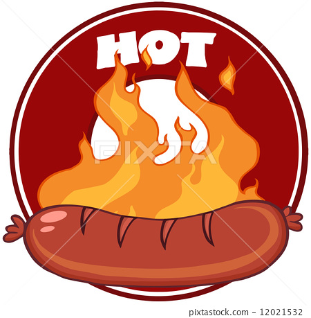 Grilled Sausage And Flames With Banner 12021532