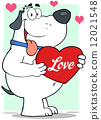 White Fat Dog Holding Up A Red Heart With Text Love 12021548